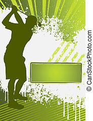 golf, grunge, gabarit, affiche
