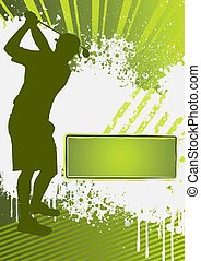 golf, grunge, mal, poster