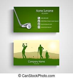 golf, handlowy, zielony, szablon, projektować, karta