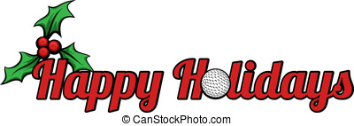 Golf Happy Holidays - Happy Holidays with a golf ball for...