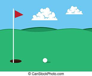 Golf Hole  - Golf course with ball near hole