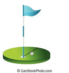 golf, hole., dessin