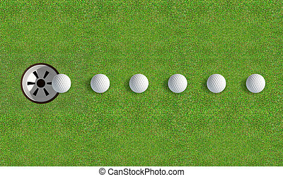 Golf Hole With Ball Approaching - A perfectly manicured golf...