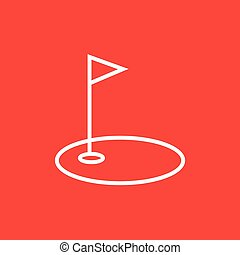 Golf hole with flag line icon.