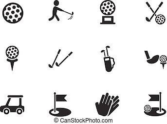 golf, icône, ensemble