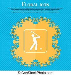 Golf icon. Floral flat design on a blue abstract background with place for your text. Vector