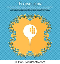 Golf icon icon. Floral flat design on a blue abstract background with place for your text. Vector