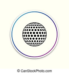 Golf icon isolated on white background. Circle white button. Vector Illustration