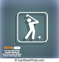Golf icon. On the blue-green abstract background with shadow and space for your text. Vector
