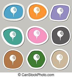Golf icon symbols. Multicolored paper stickers. Vector