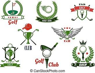golf, iconen, club, items, emblems, spel