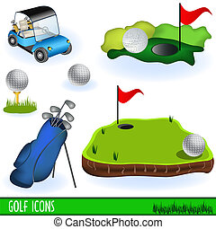 Golf Icons - Collection of golf color icons, grouped...