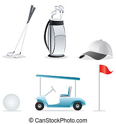 golf icons - illustration of golf elements on an isolated...