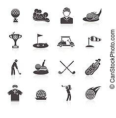 Golf icons set black - Golf game sport and activity black...