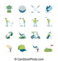 Golf icons set with ball grass and equipment symbols flat isolated vector illustration