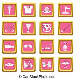 Golf icons set pink square