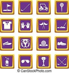 Golf icons set purple square vector