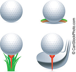 Golf icons. - Set of golf balls and accessories.