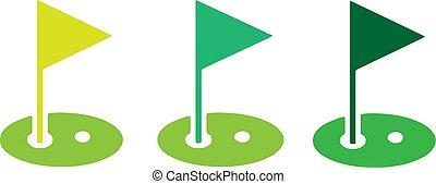 golf, ikon, háttér, elszigetelt, white lobogó
