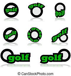 golf, ikony