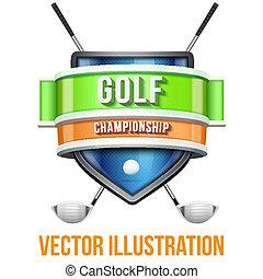 golf, illustration., competition., étiquette, clair, vecteur, prime, sport, design.