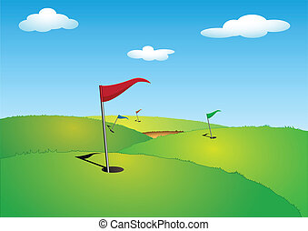 Golf  - illustration of a green golf course with flags
