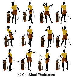 golf, ilustración, jugador, norteamericano, africano femenino, silueta