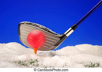 Golf in winter snow
