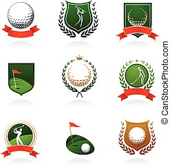 Golf insignia - Collection of golf labels, badges and icons