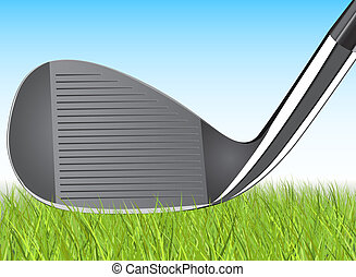 Golfing iron resting in detailed grass