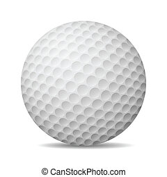 golf, isolé, illustration, réaliste, vecteur, white., ball.