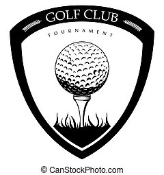 golf, isolato, emblema