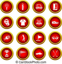 Golf items icon red circle set