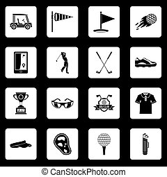 Golf items icons set squares vector - Golf items icons set ...