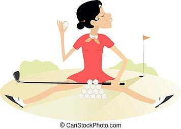 golf, jonge, cursus, recreates, illustratie, vrouw ...