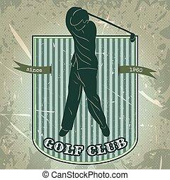 golf, jouer, homme