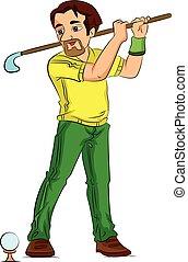 golf, juego, Ilustración, hombre