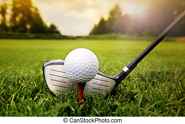 golf klub, és, labda, alatt, fű