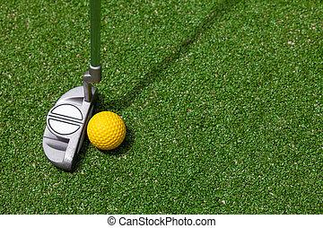 golf klub, és, labda, tető kilátás