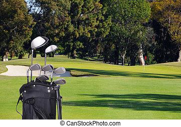 golf klub bag, på, fairway