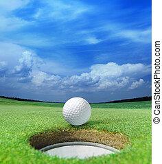 golf- kugel, auf, lippe