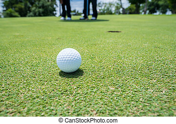 golf- kugel, auf, setzen grüns