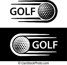 golf- kugel, bewegung, linie, symbol