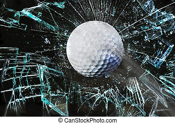 golf- kugel, durch, fenster.