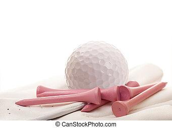 golf labda, és, kesztyű, noha, rózsaszínű, elkezdődik