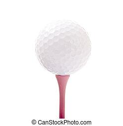 golf labda, képben látható, rózsaszínű, elkezdődik