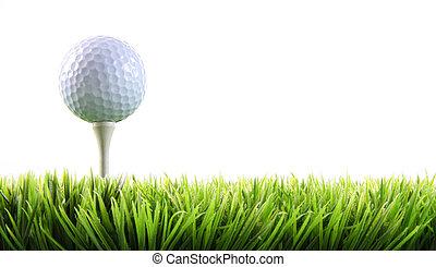 golf labda, noha, elkezdődik, alatt, a, fű