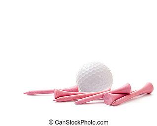 golf labda, noha, rózsaszínű, elkezdődik, elszigetelt, white, háttér