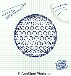 Golf line sketch icon isolated on white background. Vector Illustration