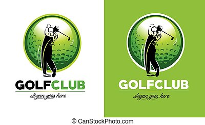 Golf Logo Design. Golf Club Icon With golfer hitting the...